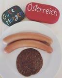 Guten Morgen Österreich, austrian breakfast souvenir with stones Stock Image