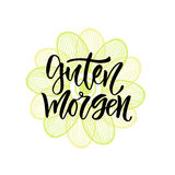 Guten Morgen german phrase Good morning in english. Inspirational Lettering poster or banner for party. Vector hand Stock Photos