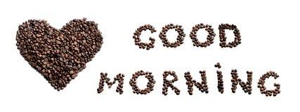 Guten Morgen! Herz gemacht von coffe Bohnen Stockfotografie