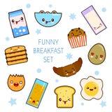 Guten Morgen Lustige Charakterfrühstücks-Vektorsammlung toastet Brot, Milch, Spiegelei Satz des netten Lebensmittels und des Getr Stockbilder
