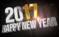 2017 guten Rutsch ins Neue Jahr übertragen sylvester Gold 2017 3d lizenzfreie abbildung