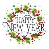 Guten Rutsch ins Neue Jahr-Aquarellfirmenzeichen, -ausweis und -ikone Stockbild