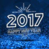 2017 guten Rutsch ins Neue Jahr auf abstraktem blauem Funkelnperspektive backgro Stockfotografie