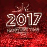 2017 guten Rutsch ins Neue Jahr auf abstraktem rotem Funkelnperspektive backgrou Lizenzfreie Stockbilder