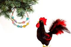 Guten Rutsch ins Neue Jahr 2017 auf dem chinesischen Kalender der Hahnschablonenkarte Stockfotos