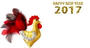 Guten Rutsch ins Neue Jahr 2017 auf dem chinesischen Kalender der Hahnschablonenkarte Stockfotografie