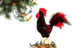 Guten Rutsch ins Neue Jahr 2017 auf dem chinesischen Kalender der Hahnschablonenkarte Lizenzfreies Stockbild
