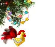 Guten Rutsch ins Neue Jahr 2017 auf dem chinesischen Kalender der Hahnschablonenkarte Stockbilder