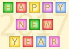 Guten Rutsch ins Neue Jahr 2017 auf Fliesen Stockbild