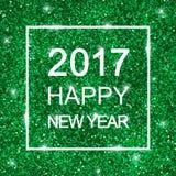 2017 guten Rutsch ins Neue Jahr auf grünem Funkeln Vektor Lizenzfreie Stockfotos
