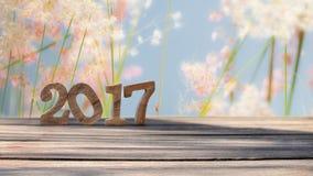 Guten Rutsch ins Neue Jahr 2017 auf hölzerner Planke und Unschärfe bedeckt Blumenhintergrund mit Gras Stockfotos