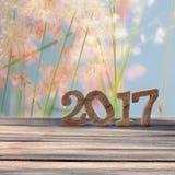 Guten Rutsch ins Neue Jahr 2017 auf hölzerner Planke und Unschärfe bedeckt Blumenhintergrund mit Gras Lizenzfreies Stockbild