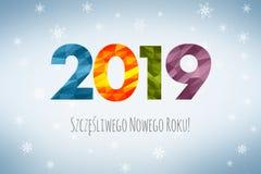 Guten Rutsch ins Neue Jahr 2019 auf Polnisch lizenzfreie abbildung