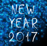 Guten Rutsch ins Neue Jahr 2017 auf Schneeflockenhintergrund Lizenzfreie Stockbilder