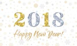 2018 guten Rutsch ins Neue Jahr auf Schneeflockenvektorhintergrund Gold- und Silberfunkelnbeschaffenheit Lizenzfreies Stockfoto