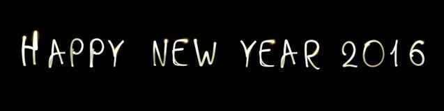 Guten Rutsch ins Neue Jahr 2016 auf schwarzem Hintergrund Stockfotografie