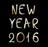 Guten Rutsch ins Neue Jahr 2016 auf schwarzem Hintergrund Stockbilder