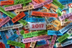 Guten Rutsch ins Neue Jahr auf verschiedenen Sprachen Stockfotos