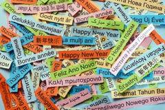 Guten Rutsch ins Neue Jahr auf verschiedenen Sprachen Stockbild