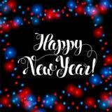 Guten Rutsch ins Neue Jahr-Bürsten-Handbeschriftung Lichterkettehintergrundhintergrund Helle realistische Girlanden rot und blaue Stockfoto