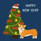Guten Rutsch ins Neue Jahr-Baum und Hundevektor-Illustration Stockfotos