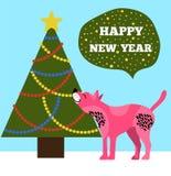Guten Rutsch ins Neue Jahr bekleben mit Baum-und Welpen-Ikonen mit Plakaten Lizenzfreies Stockbild