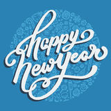 Guten Rutsch ins Neue Jahr-Beschriftung auf blauem Hintergrund Stockbild