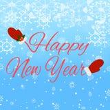 Guten Rutsch ins Neue Jahr-Beschriftung auf blauem Hintergrund Stockfoto