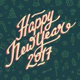 Guten Rutsch ins Neue Jahr-Beschriftung 2017 auf grünem Hintergrund Lizenzfreies Stockfoto