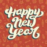 Guten Rutsch ins Neue Jahr-Beschriftung auf rotem Hintergrund Stockfoto