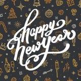 Guten Rutsch ins Neue Jahr-Beschriftung auf schwarzem Hintergrund Lizenzfreie Stockfotos