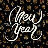 Guten Rutsch ins Neue Jahr-Beschriftung auf schwarzem Hintergrund Stockfoto