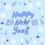 Guten Rutsch ins Neue Jahr-Beschriftung Gruß-Karte Stockbild
