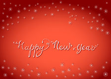 Guten Rutsch ins Neue Jahr-Beschriftungs-Karte mit Schneeflocken Lizenzfreie Stockbilder