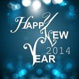 Guten Rutsch ins Neue Jahr-blaue bunte Gruß-Karte Stockfotos