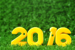 Guten Rutsch ins Neue Jahr 2016, bunte Zahlidee Stockfoto
