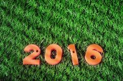 Guten Rutsch ins Neue Jahr 2016, bunte Zahlidee Stockfotos