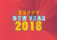 Guten Rutsch ins Neue Jahr 2018, bunter Text auf rotem Hintergrund stock abbildung