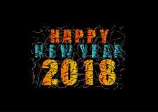 Guten Rutsch ins Neue Jahr 2018, bunter Text auf schwarzem Hintergrund vektor abbildung
