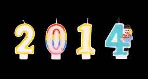 Guten Rutsch ins Neue Jahr colorfull 2014 leuchtet Zahl durch. Stockfotografie