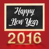 Guten Rutsch ins Neue Jahr 2016, das auf Tafel in roten Studioraum schreibt Stockfotos