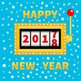 Guten Rutsch ins Neue Jahr 2017, das für 2018 ändert Lokalisiert auf Weiß Jackpot Goldenes Licht der glühenden Lampe On-line-Kasi stock abbildung
