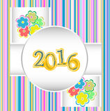 Guten Rutsch ins Neue Jahr 2016 Dekorativer Weinlese Ornamental Stockbilder