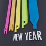 Guten Rutsch ins Neue Jahr in den bunten Linien Stockfotos