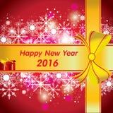 Guten Rutsch ins Neue Jahr 2016 Der bunte Schnee und bunte das Weihnachtsgeschenk auf rotem Hintergrund Stockfoto
