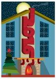 Guten Rutsch ins Neue Jahr in der Stadt Vektorgrußkartengestaltungselement Stockfoto