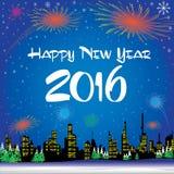 Guten Rutsch ins Neue Jahr 2016 Der weiße Schnee und der Weihnachtsbaum auf blauem Hintergrund Lizenzfreie Stockfotos