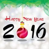 Guten Rutsch ins Neue Jahr 2016 Der weiße Schnee und grüne der Weihnachtsbaum auf grauem Hintergrund Stockfotografie