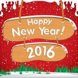 Guten Rutsch ins Neue Jahr 2016 Der weiße Schnee und grüne der Weihnachtsbaum auf rotem Hintergrund Lizenzfreie Stockfotografie