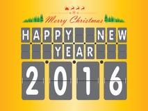 Guten Rutsch ins Neue Jahr 2016 Der Weihnachtsbaum und Santa Claus auf gelbem und orange Hintergrund Lizenzfreie Stockbilder